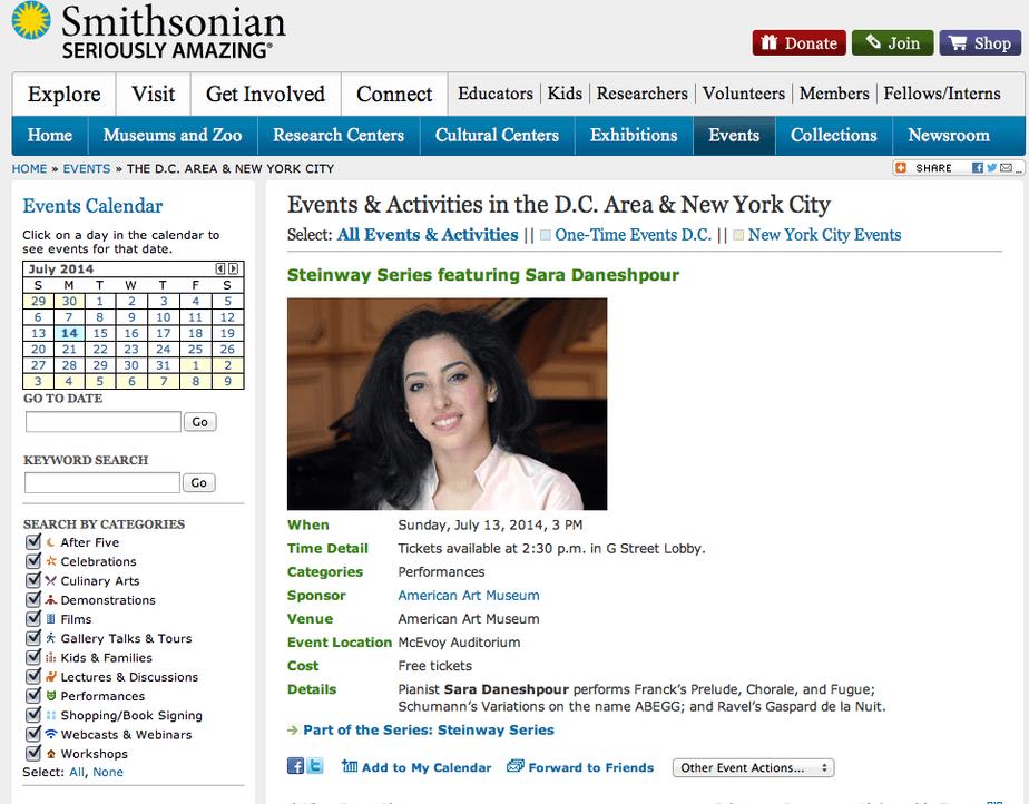 اجرای آثار موسیقی کلاسیک توسط « سارا دانش پور» پیانیست برجسته ایرانی در موزه هنر آمریکا در واشنگتن دی سی